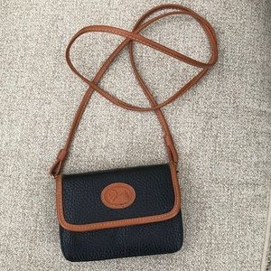 Brown & black leather mini purse wallet